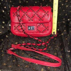 Forever 21 Bags - Small Red Crossbody Bag with Gunmetal Chain